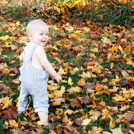 Fall fun by Katrina Gordon - Babies & Children Toddlers ( orange, autumn, fall, goofy, adorable, bald, baby, leaf, cute, leaves, toddler, overalls )