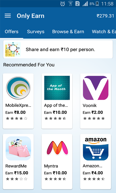 Only Earn - Get Free Recharge Screenshot 2