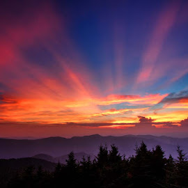 Glory by Kirsten Messmer - Landscapes Sunsets & Sunrises ( clouds, mountains, mt. mitchell, sunset, blue ridge parkway )