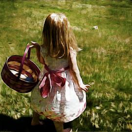 Easter Memory by Darlene Lankford Honeycutt - Digital Art People ( easter, easter egg hunt, basket, dl honeycutt, children, holidays, digital )