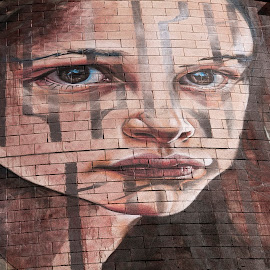 Street art by Luz UK - Painting All Painting ( face, girl, art, street,  )