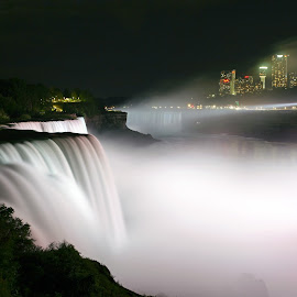 Nightime Mist of Niagara Falls by Gene Walls - City,  Street & Park  Night ( usa, niagara falls, american falls, canada, night, river, skyline, ny, new york, mist, lights, park )