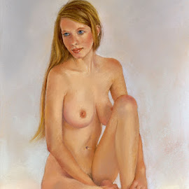 Valentine by Margaret Merry - Painting All Painting ( pastel, figure study, girl, nude, female, woman, naked, art, painting, print, drawing, figurative art )