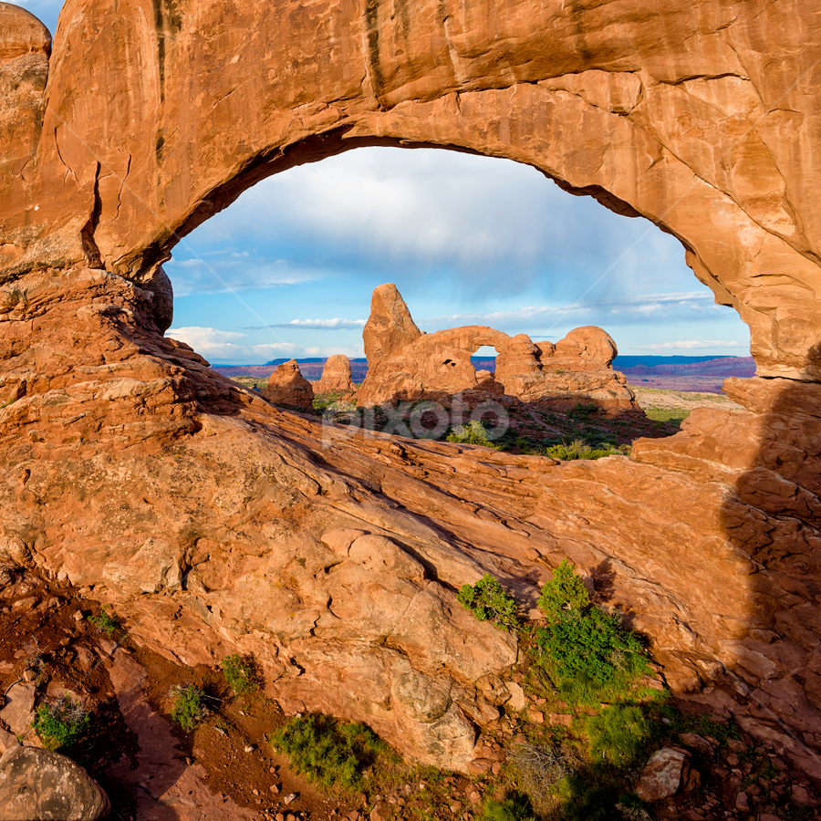 Turret Arch Moab by Charles Knowles - Landscapes Caves & Formations ( unique, patterns, erosion, beautiful, plants, rock, shapes, national park, sky, red, nature, utah, arches )