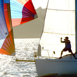 Adjusting the Spinnaker by JR Hudson | Scenic Edge - Sports & Fitness Other Sports ( lake washington, saliboat, sloop, colorful spinnaker, spinnaker, sailboat race )