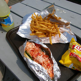Maine Lobster Roll by Rita Goebert - Food & Drink Ingredients ( maine; new england favorites; lobster rolls; fries; seaside lunch; )