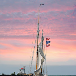 Sunset Sail by Melissa Davis - Transportation Boats ( fairport harbor, tall ship, sunset, lighthouse, missysphotography, sailboat )