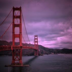 Golden Gate Bridge. by Gene Brumer - Buildings & Architecture Bridges & Suspended Structures ( sky, cars, ocean, bridge, golden gate, water, pacific )