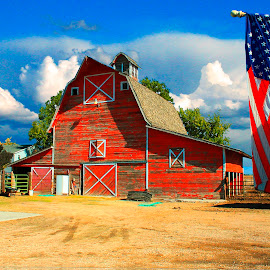 RANCH AND FARM COUNTRY LIVING  by Gerry Slabaugh - Buildings & Architecture Public & Historical ( farm, ranch, barn, country living, american flag, country )