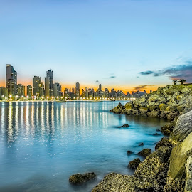 LE Sunset in Camboriu Beach by Rqserra Henrique - City,  Street & Park  Skylines ( brazil, rocks, blue, longexposure, city, beach, le, longexpo, rqserra )