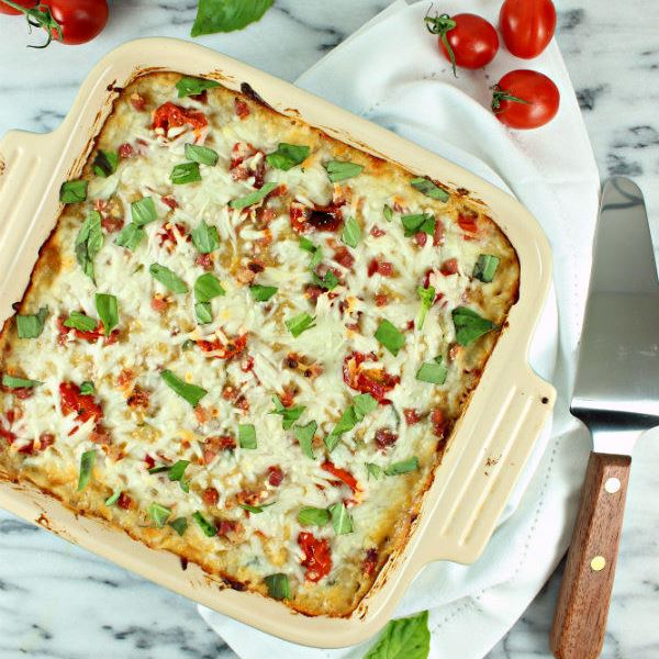 Creamy Provolone Baked Quinoa with Roasted Cherry Tomatoes, Pancetta ...