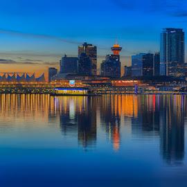 Vancouver Sunrise Triptych I by Briand Sanderson - City,  Street & Park  Skylines ( skyline, canada, sunrise, triptych, bc, vancouver, british columbia )