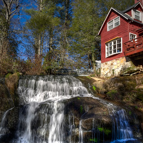 Old Water Mill by Randell Whitworth - Buildings & Architecture Public & Historical ( mountians, water mill, hdr, nc, waterfall )
