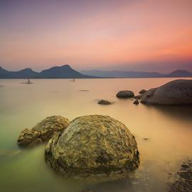 Jailuhur at Dusk by Ade Noverzan - Landscapes Waterscapes ( sunset, stones, dusk )