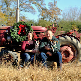 by Christy Stanford - People Couples ( farm, canine, animals, dogs, woman, christmas, wreath, tractor )