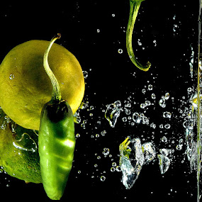 lemon and green chilli by Subrata Chatterjee - Food & Drink Fruits & Vegetables