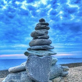 Memories  by Ann Goldman - Artistic Objects Other Objects ( memorial, calming, sunset, cloudscape, stone )