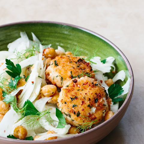 Garlicky Chickpea and Fennel Salad with Baked Goat Cheese