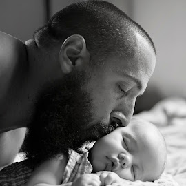 Unconditional Love by Tara Chumsae - People Family ( babies, unconditional love, kissing, infant, children, unconditional, son, loving, humans, newborns, newborn, father, human, child, love, emotions emotion, sons, fathers, baby, infants, kisses )