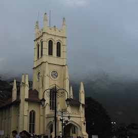 Clouded church by Srivenkata Subramanian - Buildings & Architecture Public & Historical ( christchurch, cloudy, india, beauty, chill, shimla )