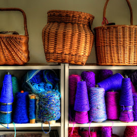 baskets and yarn by Fraya Replinger - Artistic Objects Other Objects ( purple, blue, colorful, basket, baskets, yarn )