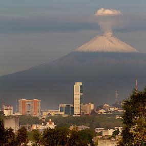 Puebla and Popo by Cristobal Garciaferro Rubio - City,  Street & Park  Vistas ( popo, puebla, popocatepetl, snowy volcano, city )