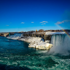 Niagara River by Aaron Whitaker - Landscapes Waterscapes ( water, winter, snow, rainbow, river )