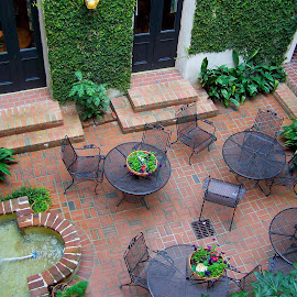 Hotel Courtyard by Susan Englert - Buildings & Architecture Office Buildings & Hotels ( tables, chairs, fountain, plants, hotel, courtyard )