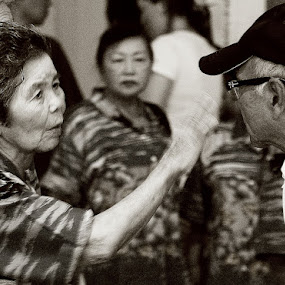 No, no, no... thats NOT what I said! by Bill MacLachlan - People Street & Candids ( japan, b&w, black and white, okinawa, elderly, talk )