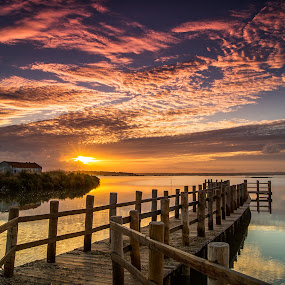 Magic Sky III by Emanuel Fernandes - Landscapes Sunsets & Sunrises ( water, clouds, sky, colors, portugal, end, bridge )