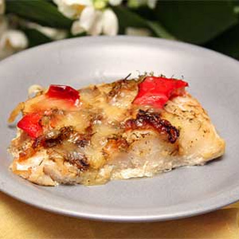 Baked Perch with Bell Pepper and Cheese