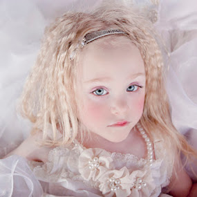 doll by Kristen VanDeventer Rice - Babies & Children Toddlers ( child, pearl, doll, blue, white, bride, eyes )