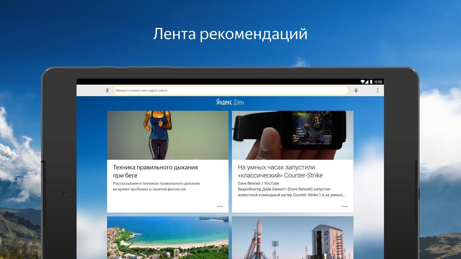 Yandex Browser für Android – Screenshot
