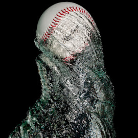 Twister by Ellen Yeates - Artistic Objects Other Objects ( studio, canon, austin, ball, splash, rawlings, high speed photography, drop, object, high speed, close up, photography, water splash, twisted, freeze photography, baseball, twist, tank )