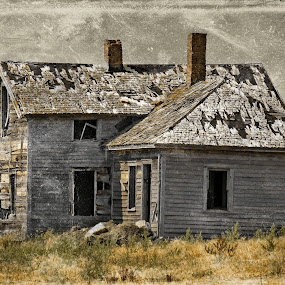 Once upon a time ... by Nancy Sadowski - Digital Art Places ( sad, house, prairie, decay, abandoned )