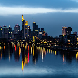 by Christian Spiller - City,  Street & Park  Skylines ( water, frankfurt, skyline, reflection, riverside, germany, night, river )