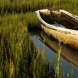 A Waterman's Tears by Mike Parker - Digital Art Places ( chesapeake, wetlands, waterman, derelict, boat, oil paint )