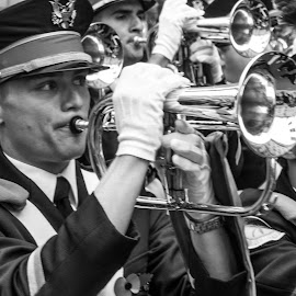 The Band by Andrew Moore - Black & White Portraits & People ( music, london, uniform,  )
