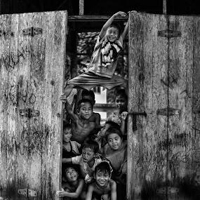 happiness of children by Adhii Motorku - Babies & Children Children Candids ( black and white )