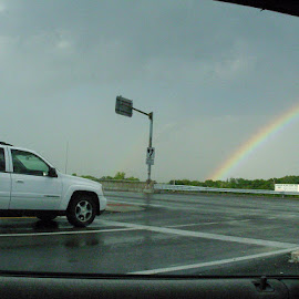 rainbow, a rainy day and me in a moving car by Nivea Dhanasekara - Transportation Automobiles