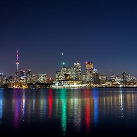Toronto Skyline by JP Miles - City,  Street & Park  Skylines ( canon, t.o., skyline, moon, toronto, twlight, jp, jp miles, ontario, miles, city, lake ontario, cn tower, evening, slow shutter, gta )