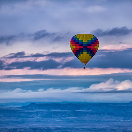 Balloon in the sky   by Carol Ward - Transportation Other ( clouds, hot air balloon, albuquerque nm, view from a hot air balloon, albuquerque, transportation )