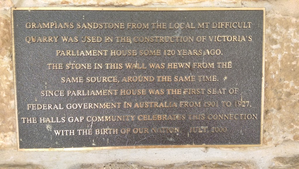 Grampians sandstone was used in the construction of some notable Victorian public buildings.  This plaque sits in the wall of the Halls Gap hall and was placed there on the centenary of the ...