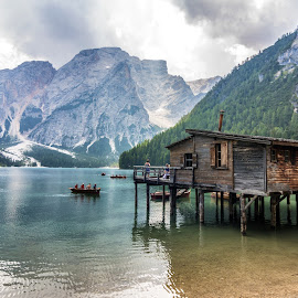 Lake of Braies by Pietro Ebner - Landscapes Waterscapes ( mountains, mountain, dolomiti, waterscape, lake, braies, house, reflation, italy )