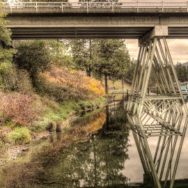 Bridge to Post Falls, ID by Michelle Cox - Buildings & Architecture Bridges & Suspended Structures ( water, reflection, fall colors, bridge )