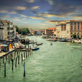 Around a Canal in Venice by T Sco - City,  Street & Park  Neighborhoods ( city, waterway, walkway, water, boat, path, venice, street, buildings, canal, neighborhood, dock, italy, walk )