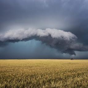 Kansas shelf cloud by Melanie Kern-Favilla - Landscapes Weather ( clouds, sky, weather, storm )