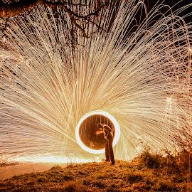 Steelwoolspinn! by Jens Andre Mehammer Birkeland - Abstract Fire & Fireworks ( tree, steel wool, steelwool, fireworks, trees, people, river )
