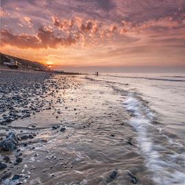 Cromer Sundown by Ian Pinn - Landscapes Beaches ( clouds, coastwave, cromer, norfolk, tide, coast )