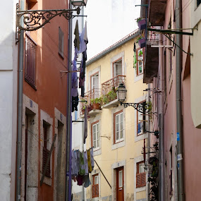Old town lisbon by Lyn Simuns - City,  Street & Park  Neighborhoods ( street )